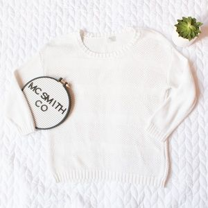 Madewell | Wallace White Knit Crew Neck Sweater